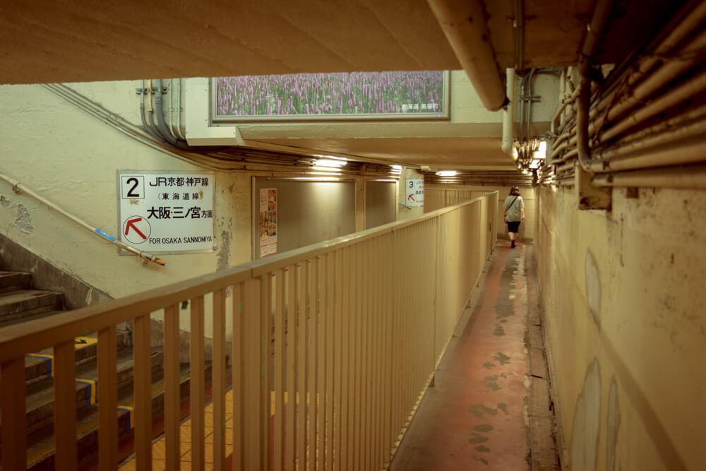 JR東淀川駅橋上通路旧駅舎踏切